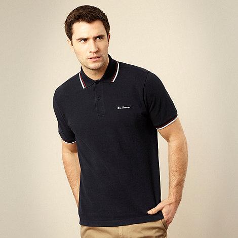 Ben Sherman - Navy tipped pique polo shirt