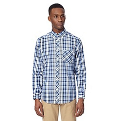 Ben Sherman - Big and tall blue long sleeved button down shirt