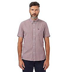 Fred Perry - Red gingham checked short sleeved regular fit shirt