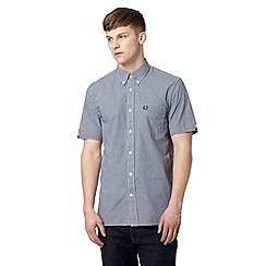 Fred Perry - Navy gingham checked short sleeved shirt