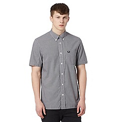 Fred Perry - Black gingham checked short sleeved regular fit shirt