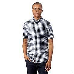 Fred Perry - Blue gingham checked short sleeved shirt