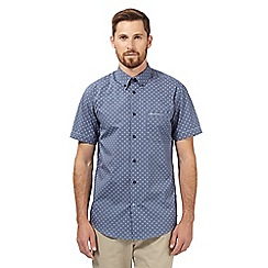 BEN SHERMAN - Navy geometric print short sleeved shirt