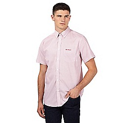 BEN SHERMAN - Red honeycomb print short sleeved shirt