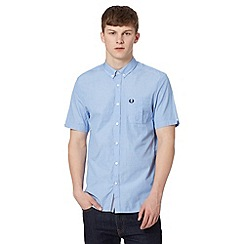 Fred Perry - Blue chest pocket short sleeved regular fit shirt