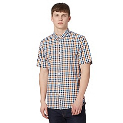 Fred Perry - Blue gingham short sleeved regular fit shirt