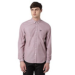 Fred Perry - Wine plain button down collar regular fit shirt