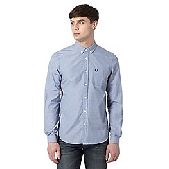 Fred Perry - Blue plain button down collar regular fit shirt