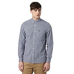 Fred Perry - Navy mini gingham checked regular fit shirt