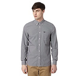 Fred Perry - Black mini gingham checked regular fit shirt