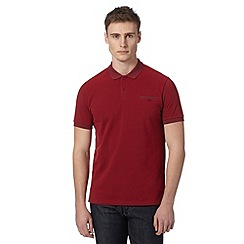 Ben Sherman - Red pique tonal collar polo shirt