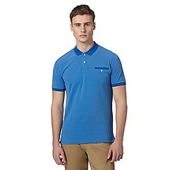 Ben Sherman - Big and tall blue pique tonal collar polo shirt