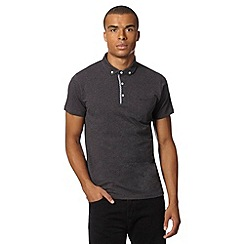 Ben Sherman - Grey gingham trim wing collar polo shirt