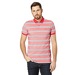 Ben Sherman - Pink oxford pique striped polo shirt