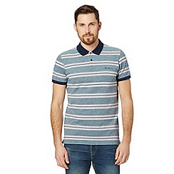 Ben Sherman - Navy oxford pique striped polo shirt