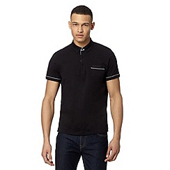 Ben Sherman - Big and tall black gingham trim polo shirt