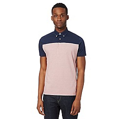 Ben Sherman - Red fine striped chambray trim polo shirt
