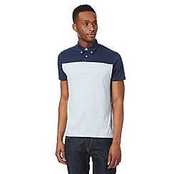 Ben Sherman - Blue fine striped chambray trim polo shirt