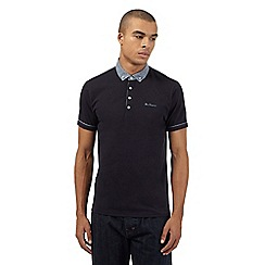 Ben Sherman - Big and tall navy chambray collar polo shirt