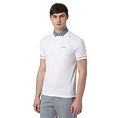 Ben Sherman - Big and tall white chambray collar polo shirt