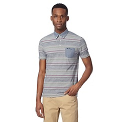 Ben Sherman - Big and tall navy fine striped polo shirt