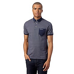 Ben Sherman - Big and tall navy spotted button down polo shirt
