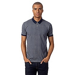 Ben Sherman - Big and tall navy geometric print polo shirt