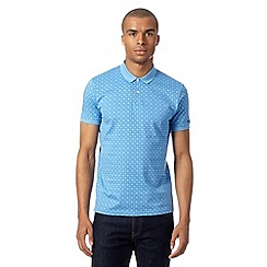 Ben Sherman - Big and tall blue geometric print polo shirt