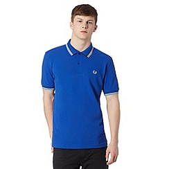 Fred Perry - Blue pique tipped regular fit polo shirt
