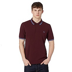 Fred Perry - Wine embroidered logo slim fit polo shirt