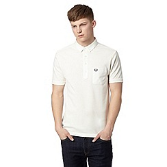 Fred Perry - White woven slim fit polo shirt