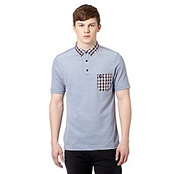 Fred Perry - Mid blue gingham collar slim fit polo shirt