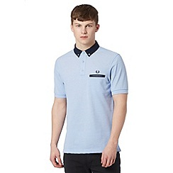 Fred Perry - Light blue woven slim fit polo shirt