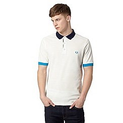 Fred Perry - White contrast slim fit polo shirt