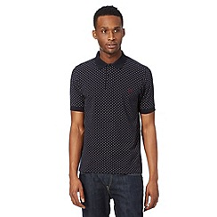 Fred Perry - Navy polka dot slim fit polo shirt