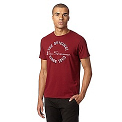Ben Sherman - Maroon checked logo t-shirt