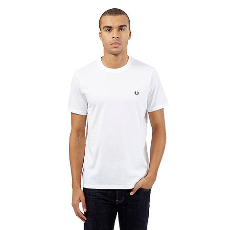 Fred perry white crew neck regular fit t shirt debenhams for Fred perry mens shirts sale