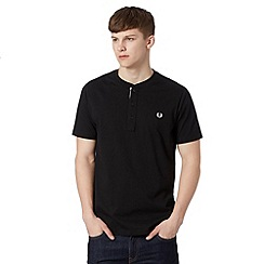 Fred Perry - Black logo button neck regular fit t-shirt