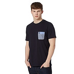 Fred Perry - Navy double gingham pocket regular fit t-shirt