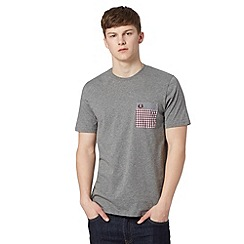 Fred Perry - Grey double gingham pocket regular fit t-shirt