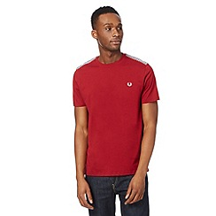 Fred Perry - Wine gingham shoulder t-shirt
