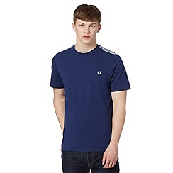 Fred Perry - Navy gingham checked trim regular fit t-shirt