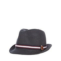 Fred Perry - Navy striped straw trilby