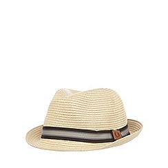 Fred Perry - Beige striped straw trilby