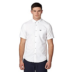 Fred Perry - White plain and textured regular fit shirt
