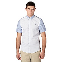 Fred Perry - Big and tall blue two tone striped regular fit shirt