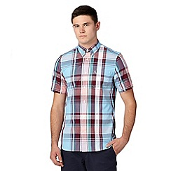 Fred Perry - Blue bold checked regular fit oxford shirt