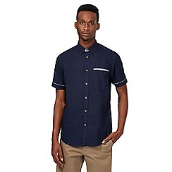 BEN SHERMAN - Navy checked trim shirt