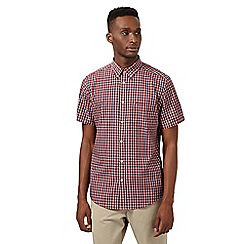 Ben Sherman - Big and tall red checked button down collar shirt