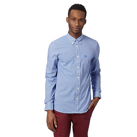 Fred Perry - Blue fine gingham regular fit shirt